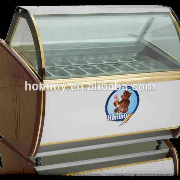 stainless steel ice cream display case commercial for ice cream shop Hommy