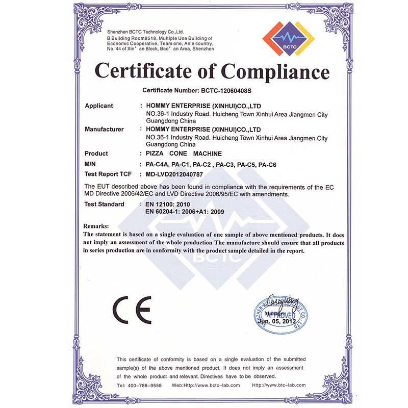 PIZZA machine CE certificate