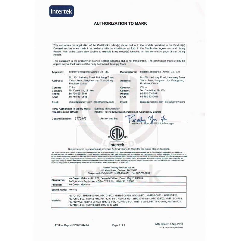 Ice Cream Equipment Manufacturer Certificate Of UL-716