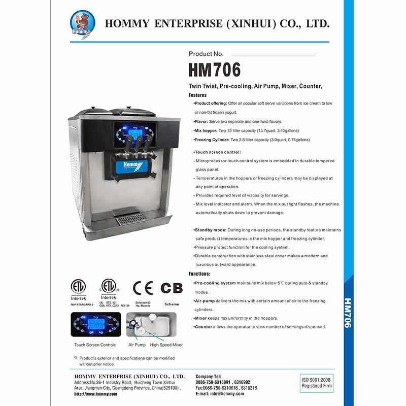 Information of  Ice cream machine 2017-706