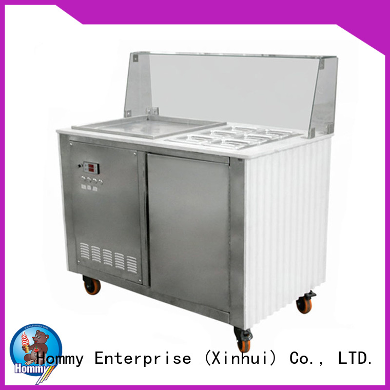 Hommy durable fried ice cream roll machine 19℃ to -22℃ for supermarket
