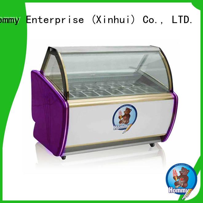 Hommy storage refrigerator ice cream showcase factory directly sale for ice cream shop