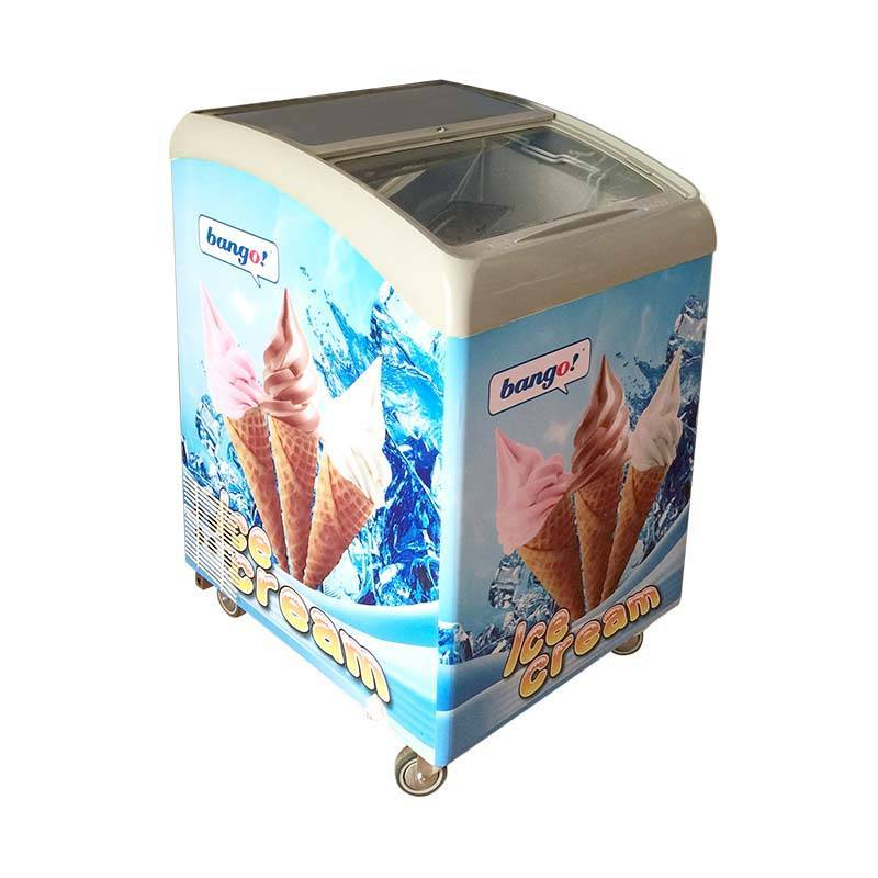 Commercial ice cream display freezer/ Commercial curved glass door/ ice cream freezer display