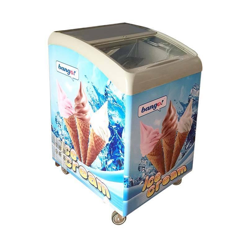Commercial ice cream display freezer/ Commercial curved glass door/ ice cream freezer display