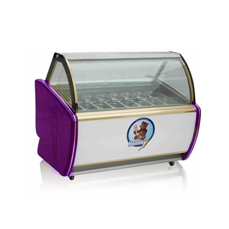 Commercial Hard Ice Cream Display Showcase/ Commercial auto-defrost type hard ice cream storage refrigerator display freezer/Gelato ice cream freezer /stainless steel showcase