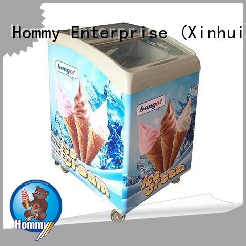 Hommy storage refrigerator ice cream display design for ice cream shop