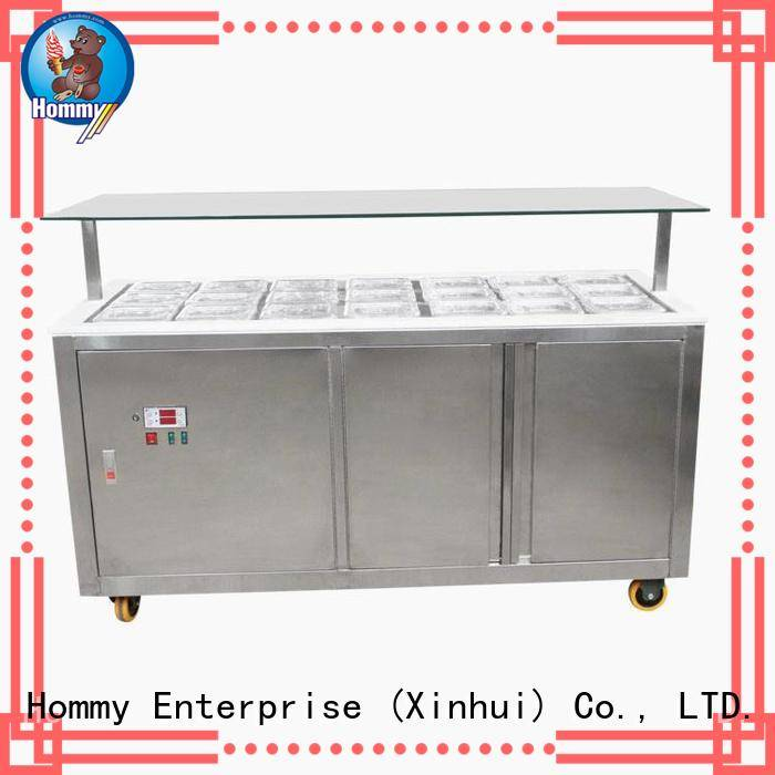 Hommy showcase popsicle freezer design for display ice cream