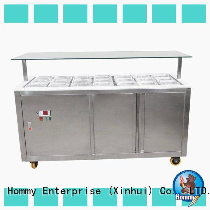 Hommy auto defrost ice cream display case factory directly sale for ice cream shop